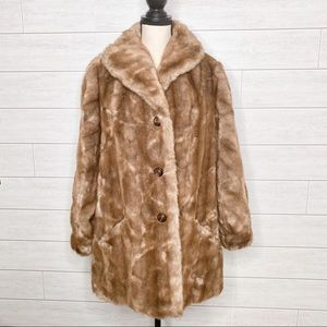 Vintage Mincara Faux Fur Button Front Coat